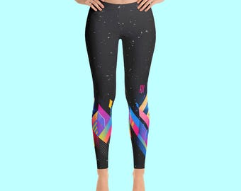 Leggings / Womens Leggings / Yoga Leggings / Printed Leggings / Yoga Pants / Geometric Leggings / Art Leggings