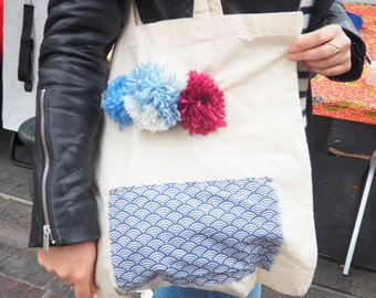 Tote Bag 100% cotton with PomPoms