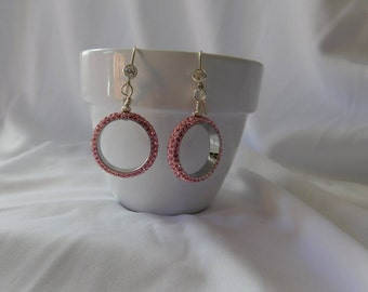 Pink Crystal Pave Silver Earrings