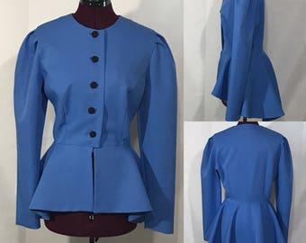 1980's | Blue Blazer |  Long in Back Short in Front