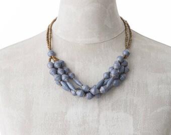 Paper necklace FELISTAS | blue grey | Uganda