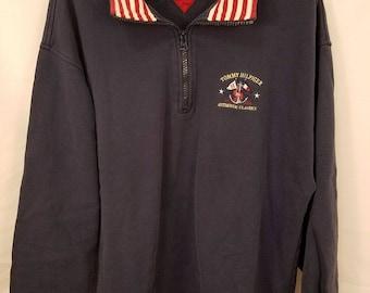 Vintage Tommy Hilfiger Mens Jacket Nautical Equipment Navy Blue 1/2 Zip XL