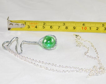 Light Green Marble Wire Wrapped Pendant