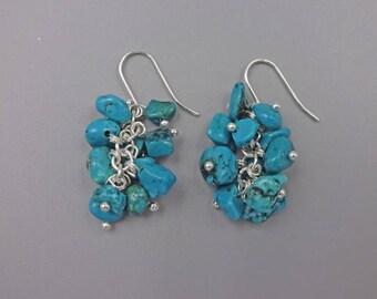 """1.5"""" Magnesite Cluster Earrings"""