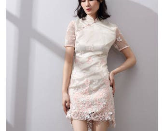 Modern Chinese Embroidery Short Length Qipao
