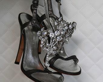 Giuseppe Zanotti Italian Sandal with Large Swarovski Crystals / size 37 1/2