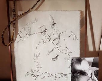 Deposit** Custom portrait. Bespoke hand embroidered, hand drawn child/sibling portrait. Original piece of textile art created from a favouri