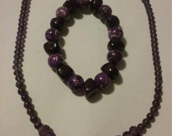 bold purple beaded necklace and bracelet