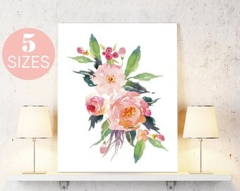 Floral art, Floral printable, flower poster print, printable art, printable wall art, wall art prints, inspirational art,  floral wall art
