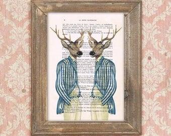 Deer print, 2 deers talking, stripy deers, deer painting, deer illustration, antlers, stags, hunter print