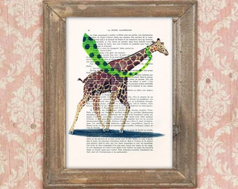 Giraffe illustration, Giraffe in the storm, Giraffe print, Giraffe artwork, Giraffe art, vintage paper art, kids room decor, birtday print