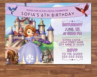 Sofia the First Invite - Purple & White - Sofia the First Invitation - Sofia the First Birthday - Printable Invitation - Party Favors