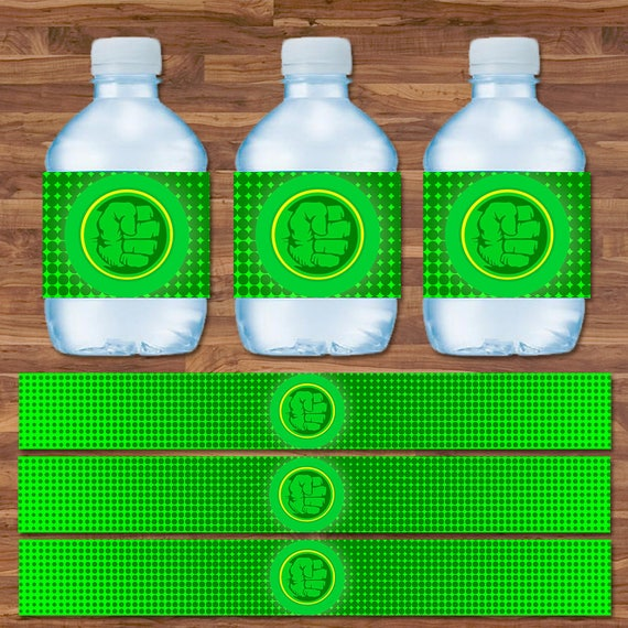 Hulk Drink Labels - Hulk Water Bottle Labels - Green & Yellow Logo - Hulk Birthday - Hulk Birthday Party Printables - 9.75 x 1.25 Inches