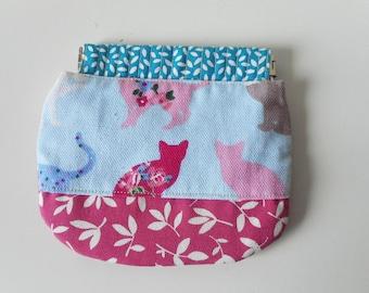 Squeeze Coin Pouch, snap open coin purse ,Coin purse, Wallet coin woman, cute coin purse. cat wallet