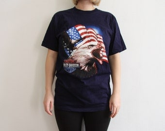 Harley Davidson Shirt with USA Flag and Eagle Print