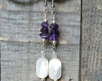 Amethyst and Mother-of-Pearl Earrings, boho