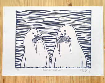 Confused walruses - limited edition linocut print (3) in blue.