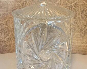 Cut Crystal Biscuit Jar Pinwheel & Star Pattern