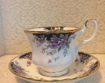 Royal Albert Cup & Saucer Choice Series Caernarvon Footed Purple Violets