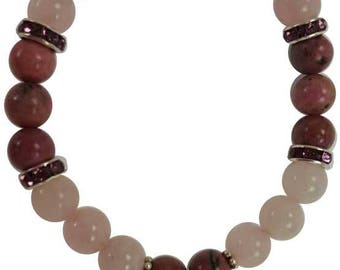 8mm Rose Quartz and Rodhonite Stretch Bracelet with Heart Charm and Crystal Accents