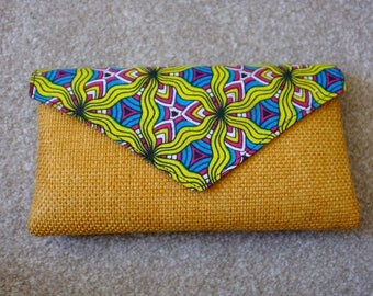 Handbag / Clutch Bag: Bright colourful AFRICAN PRINT summer / wedding