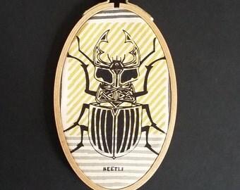 Beetle/screenprint in hoop size: 10 x 16