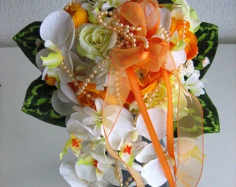 Elegant bridal bouquet - wedding roses registry - bridal bouquet-summer yellow / orange