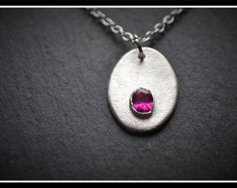 Oval CZ Pendant - Silver Precious Metal Clay (PMC), Handmade, Pendant - (Product Code: ACM050-17)