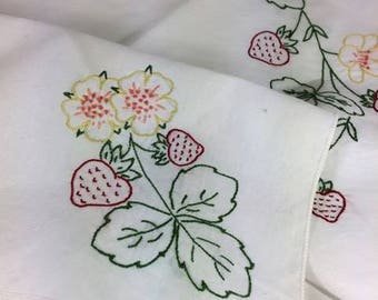 Hand embroidered summer strawberry table cloth
