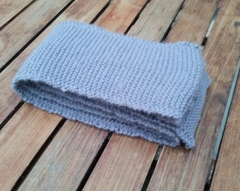 Lilac grey woolen hand knitted scarf