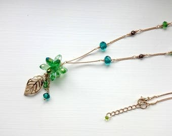 Green Drop Beads Motif Necklace