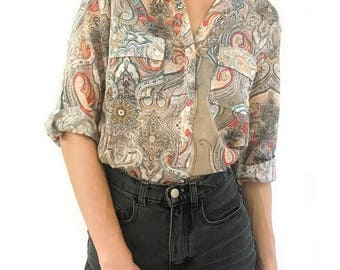 Women's Floral Half Button Placket Shirt with Roll Up Sleeves Belted 100% cotton