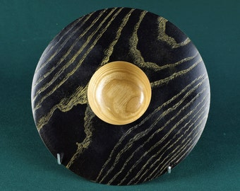Ash Ogee bowl with ebonised rim, and gilded grain