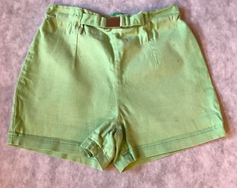 Vintage Green High Waisted Shorts