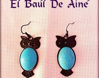 EARRINGS owls Turquoise.