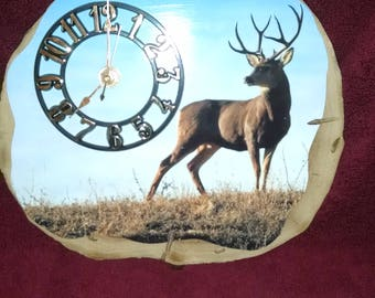 Blue Sky Deer Clock