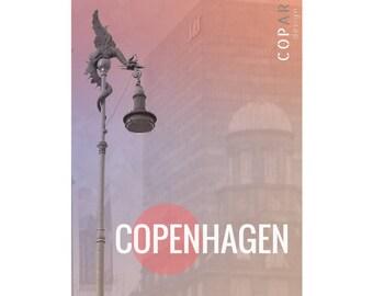 13x18cm printable wall art, photo, architecture, Copenhagen, Denmark, Scandinavia, Nordic, city collage, sculpture,dragon,pink,purple,modern