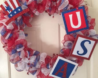 Red, White, and Blue Deco Mesh Wreath