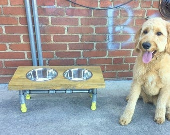 Modern Dog Feeder, Dog Furniture, Raise Dog Feeder, Industrial Chic, Dog Bowl Stand, Dog Feeding, Elevated Dog Bowl, Pet Furniture, Dog