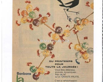 Old advertising the magpie who sings candy 50 years FRANCE Prestide
