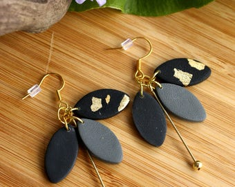 Polymer Clay Earrings~ Black Gold Earrings~ Handmade Jewelry~ Polymer Clay Jewelry~ Cluster Earrings~ Leaves Jewelry~ Gold Leaf Jewelry