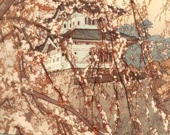 "Japanese Art Print ""Hirosaki Castle"" by Yoshida Hiroshi, woodblock print reproduction, Asian art, historical, landscape, cherry blossoms"