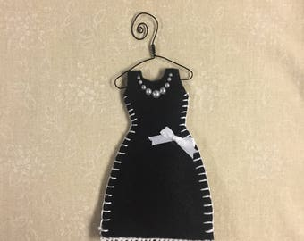 Organic Lavender Filled Sachet Dress, Black with White Accents