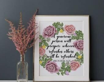 Bible Verse, Bible Saying Printable, Christian Digital Print, Proverbs 11:25 Bible Scripture Wall Art, Bible Quote Art, Christian Home Decor