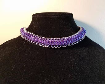 Purple and Silver Chainmaille Choker--Dragonback Design