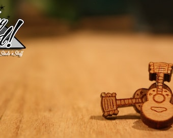 Acoustic Guitar Stud Earrings - Laser Cut Wood