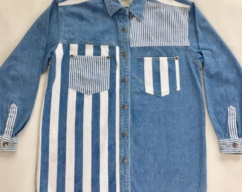 Vintage 90s Denim Shirt // Blue and White Stripes // Mid Blue Wash // S/M