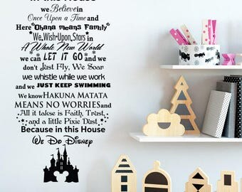 In This House We Do Disney Wall Decal   Quote Lettering Vinyl Sticker Home  Room   Part 30