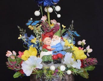 Fairy Garden Gnome Couple Silk Floral Arrangement in a Ceramic Tree Bark Pot.