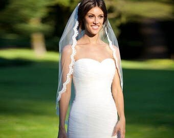 SALE Classic Single - Tiered / Layered Fingertip Length Lace Edge Wedding Veil - Available in White & Ivory